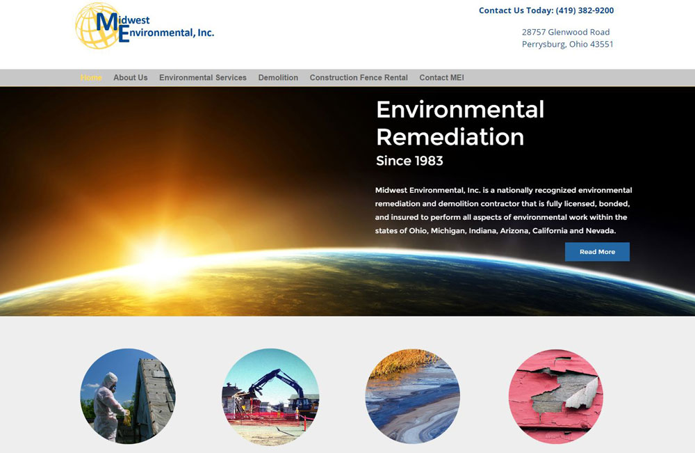 Website Design for Midwest Environmental of Toledo Ohio